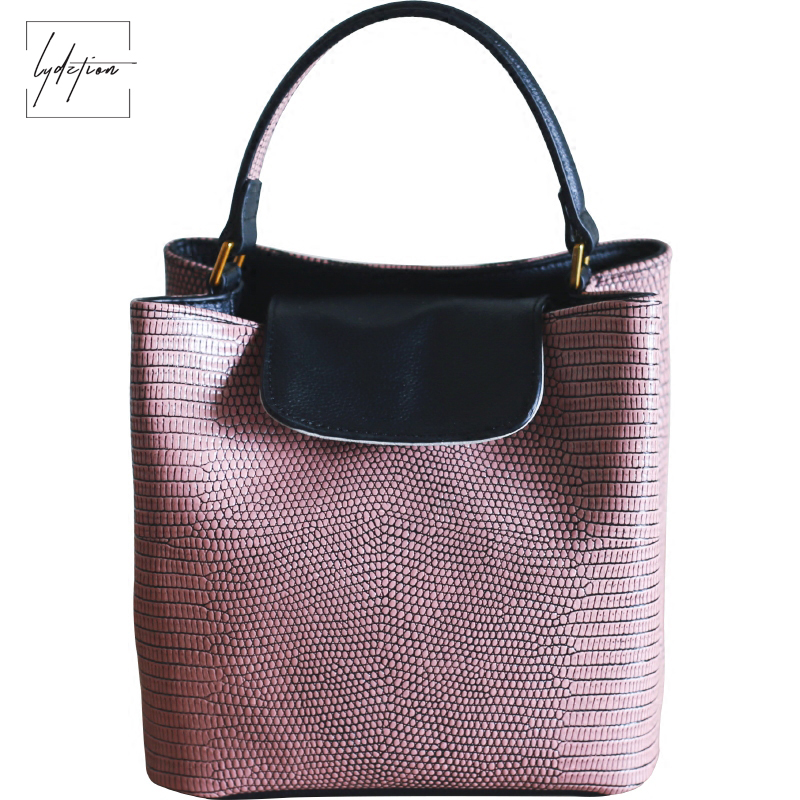Lydztion Europe Original Lizard Pattern Leather Bucket Bag Lady Summer New Cool Casual Handbag Black Hot Shoulder Messenger Bags
