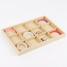 LAN LIN 12 girds jewelry receive tray yellow linen display tray bracelets display Show Case jewelry display storage hot selling