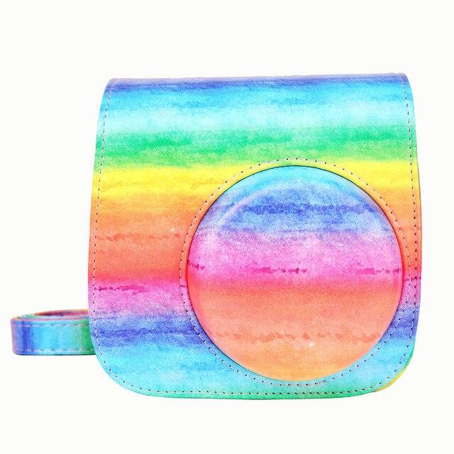 Fujifilm Instax Mini Câmera Caso 8 9 Rainbow PU Couro Alça de Ombro Saco Com Bolso Mini9 Instantâneas Câmera Capa Protetora qua