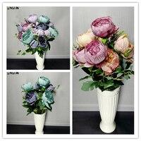 Flores de seda da flor da peônia Peônia upscale boutique comércio espora sentir artificial 2pic