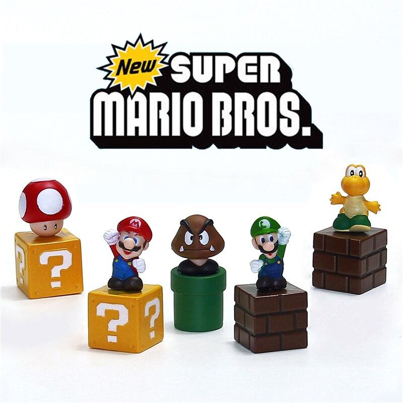Новый Super Mario Bros Цифры игрушки пачке 5 см 2 Марио Goomba Луиджи Купа Troopa гриб ...