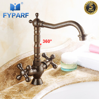 FYPARF Bathroom Faucet Roman Antique Brass Dual Handle Water Tap Sink Bathroom Waterfall Faucet Touch Faucet Swivel Spout B1072J