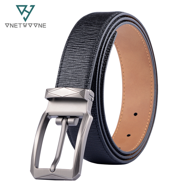 Mens belts cow genuine leather belt for men alloy pin buckle male strap dress