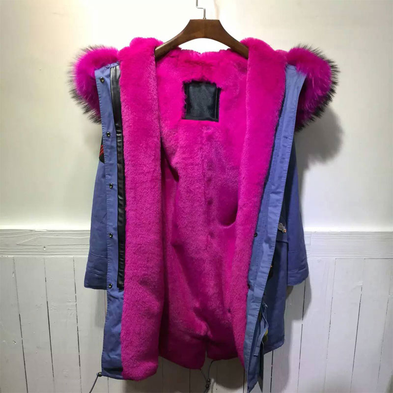 Rouge 2016 Applique Style D'hiver Rose Nouvelle Mode Pour Ciel Dame Veste Bleu OkiZuPX
