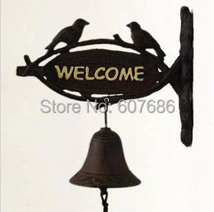Antique Cast Iron Hanging Dinner Bell WELCOME TWO BIRDS Decorative Wall Mounted Rustic Garden Accent Outdoor Free Shipping