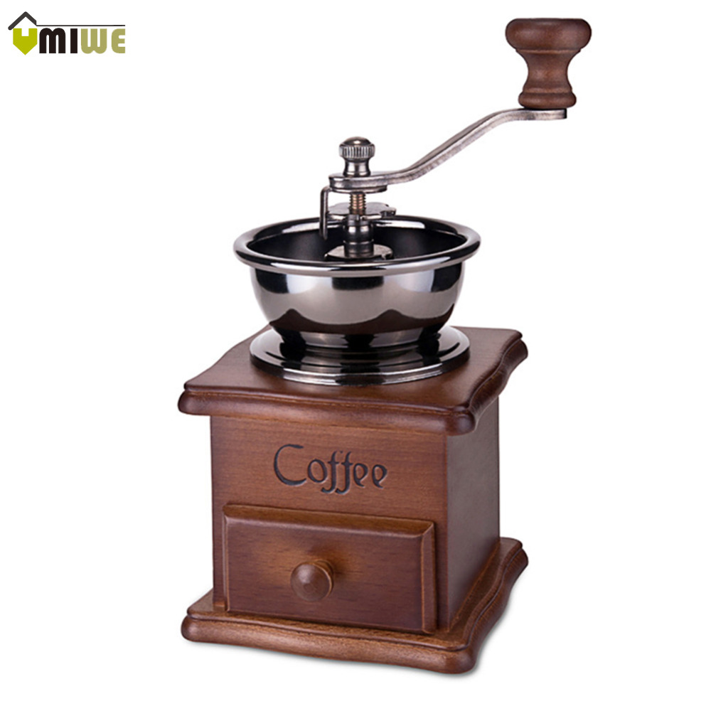 Doral Designs Coffee Maker With Grinder And Timer : Umiwe Retro design Mini Conical Burr Wooden Coffee Mill Manual Hand Grinder Wood Stand Bowl ...
