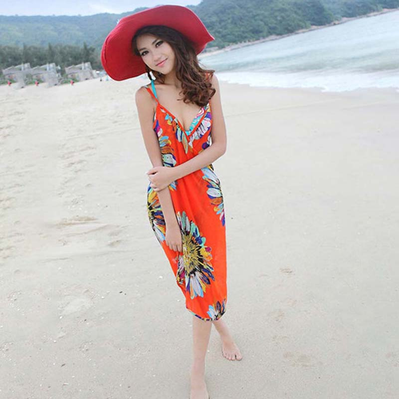 Bikini cover up floral dress for beach