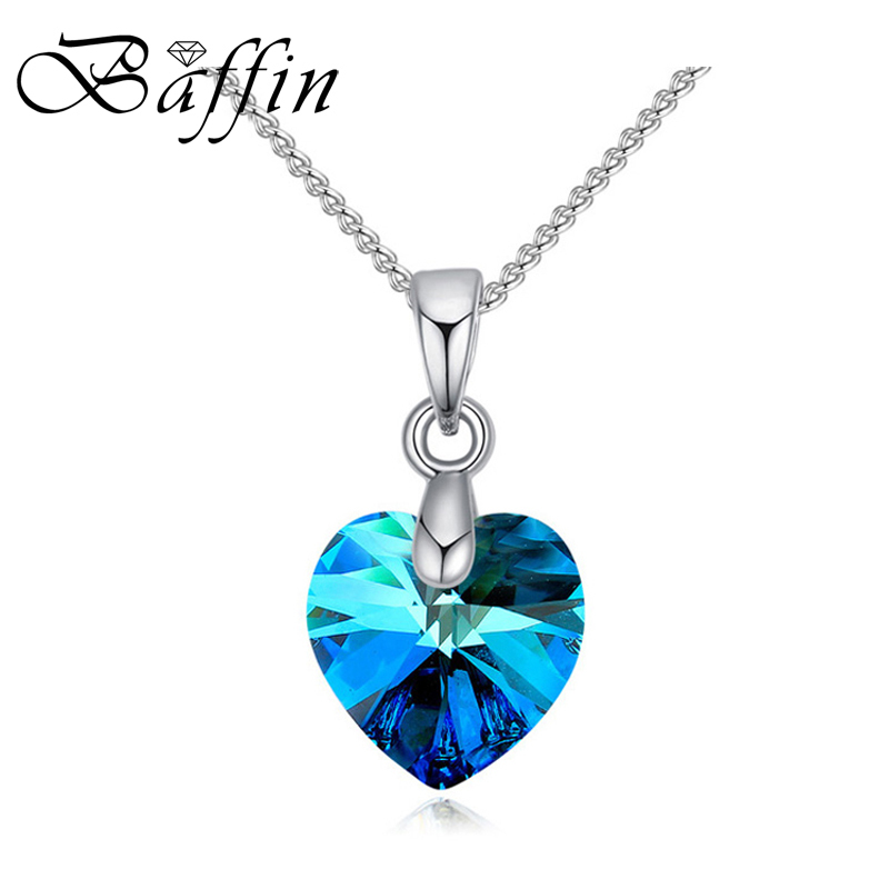 BAFFIN Crystal Necklace Heart Pendant Crystals From Swarovski For Women Girls Gifts Silver Color Chain Kids Jewelry Decorations