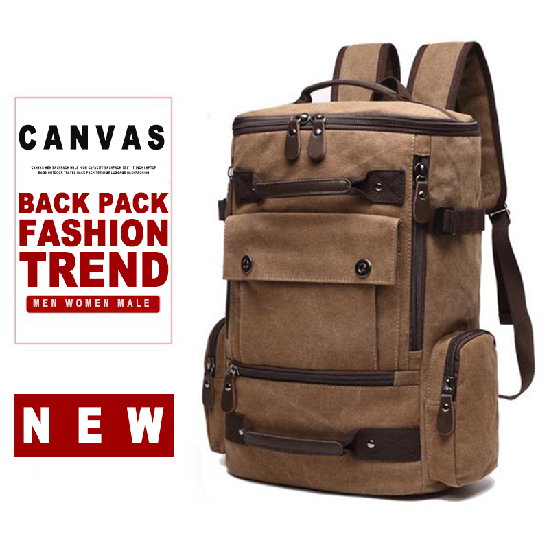 Men Canvas Laptop Backpack Bag Male 15.6'' 17 Inch Notebook Large Travel Bagpack Women Man Teenage School Outdoor Back Pack Bags