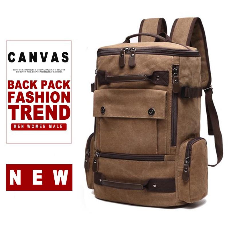 Men Canvas Laptop Backpack Bag Male 15.6'' 17 Inch Notebook Large Travel Bagpack Women Man Teenage School Outdoor Back Pack Bags