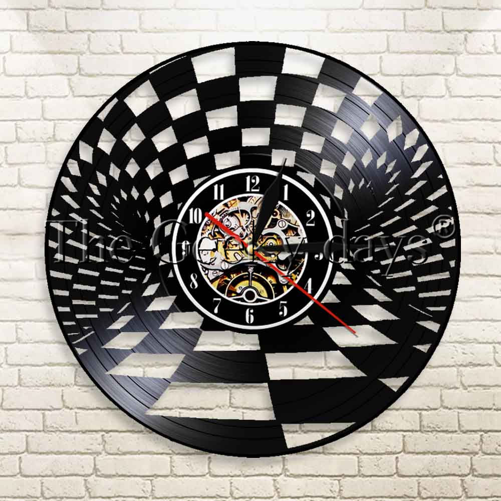 Lights & Lighting 1piece Chess Strategic Game Design Antique Vinyl Record Wall Clock With Led Blacklight Chess Pieces Modern Hanging Wall Lighting
