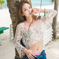 Free Shipping 2016 New Fashion Sexy Lace Hollow Blouse Tank Tops Solid Cover Ups O-Neck One Size