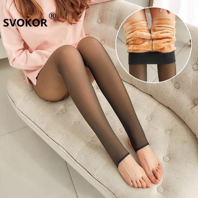 SVOKOR Leggings épais en maille pour femmes, pantalons chauds et chauds pour lhiver