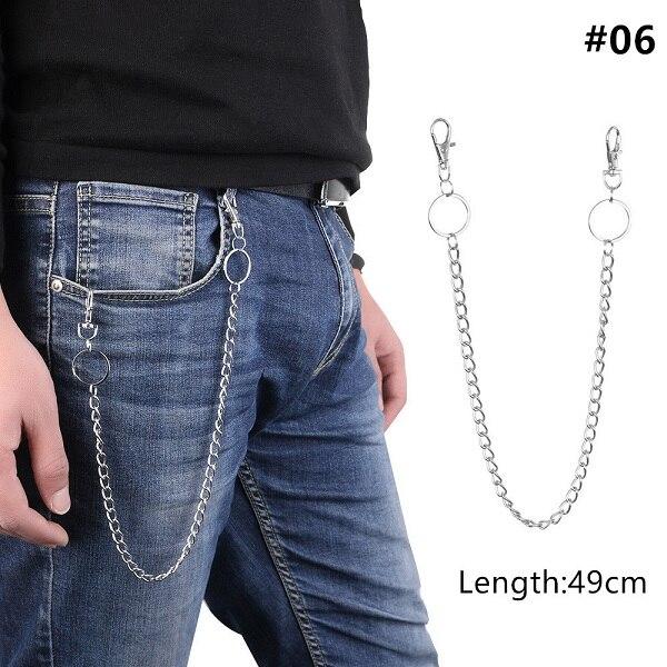 1 шт., длинные брюки, хипстерские брелки, панк-улица, большое кольцо, металлический кошелек, пояс, цепь, штаны, брелок, унисекс, хип-хоп ювелирные изделия, хороший подарок - Цвет: 49cm