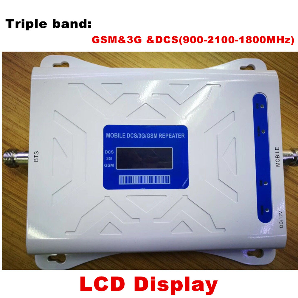 Signal Amplifier GSM 900MHz LTE 1800MHz UMTS 2100MHz 2G 3G 4G Tri Band LCD Mobile Cell Phone Signal Booster RepeaterSignal Amplifier GSM 900MHz LTE 1800MHz UMTS 2100MHz 2G 3G 4G Tri Band LCD Mobile Cell Phone Signal Booster Repeater