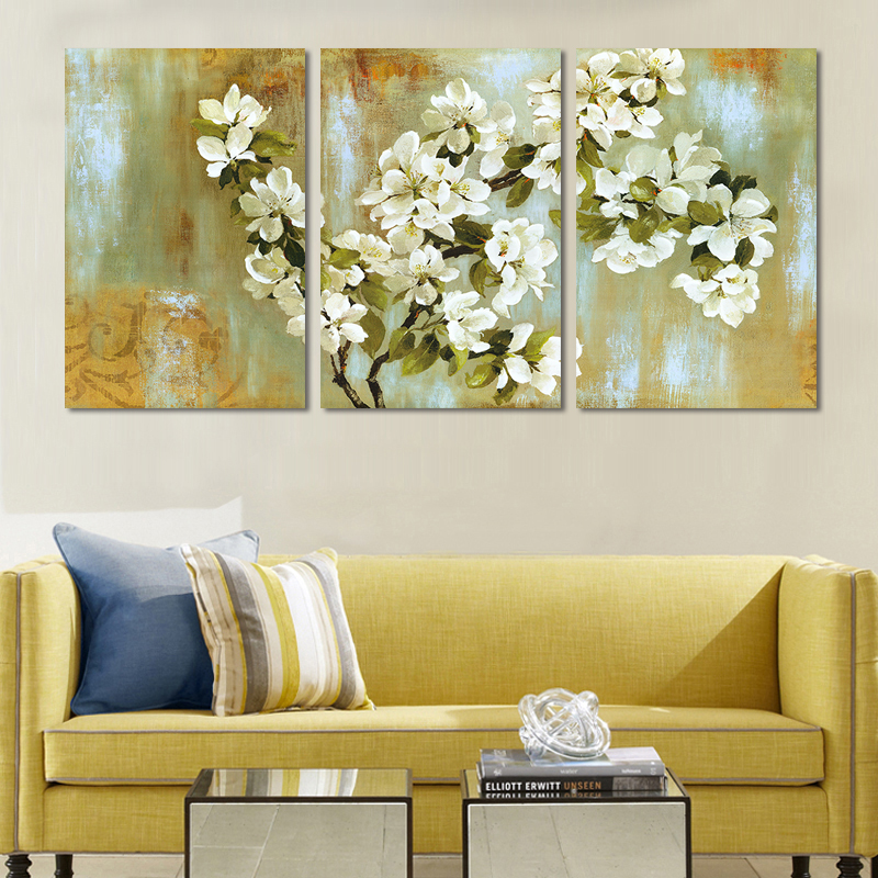 3 Piece Abstract Painting Calligraphy White Apple Blossom Flower Canvas Art Picture Reproduction