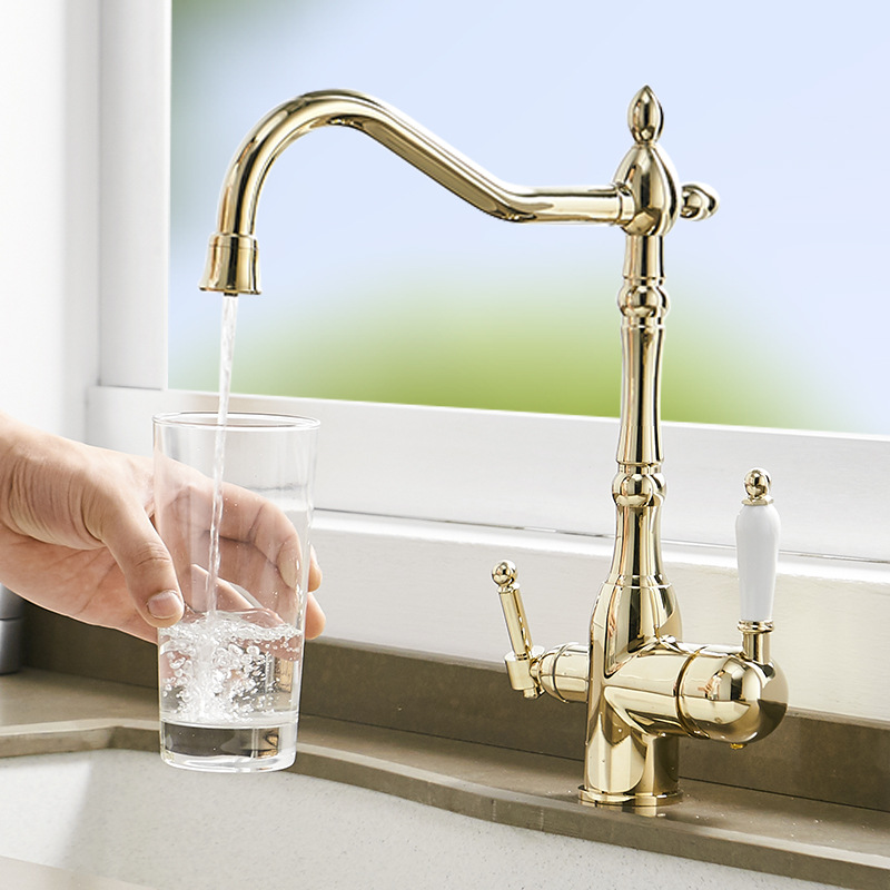 Solid Brass Gold Kitchen Purification Faucet Drinking Tap Pure Water Faucet Dual Handle Hot Cold Mixer