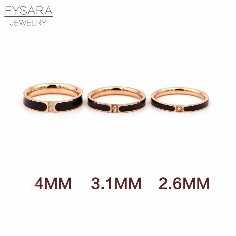 FYSARA Black Enamel Rings For Women Couple Jewelry Austrian Crystal Ring Rose Gold Color Ring Luxury Brand Love Finger Tail Ring