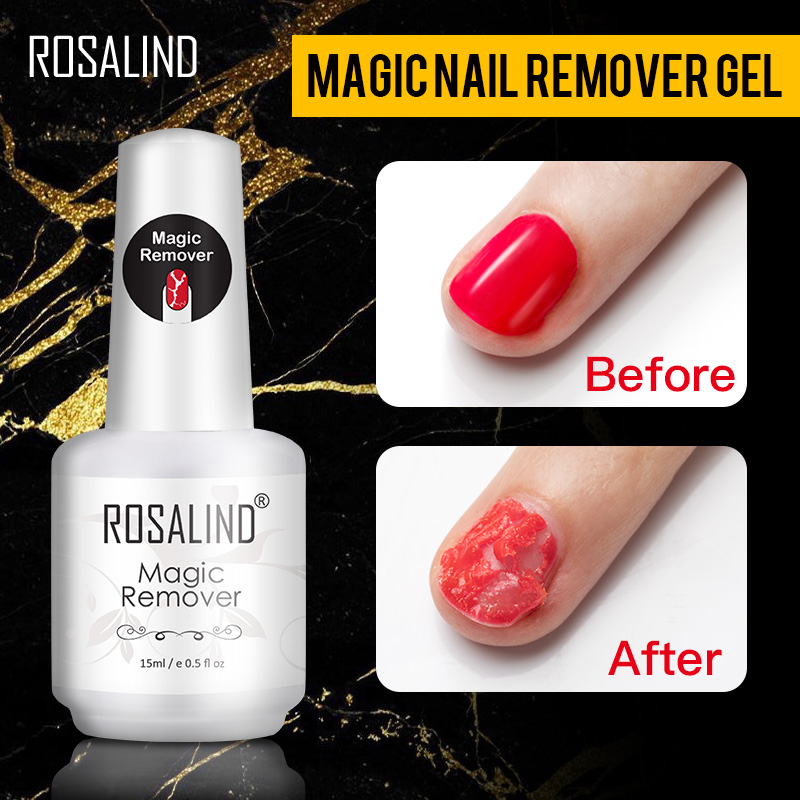 ROSALIND Magic Remover Nail Easy Off Gel Remover Cleaner Nail Polish Within 2-3 MINS 15ml Magic Removal Varnishes Base Top Coat portable media player