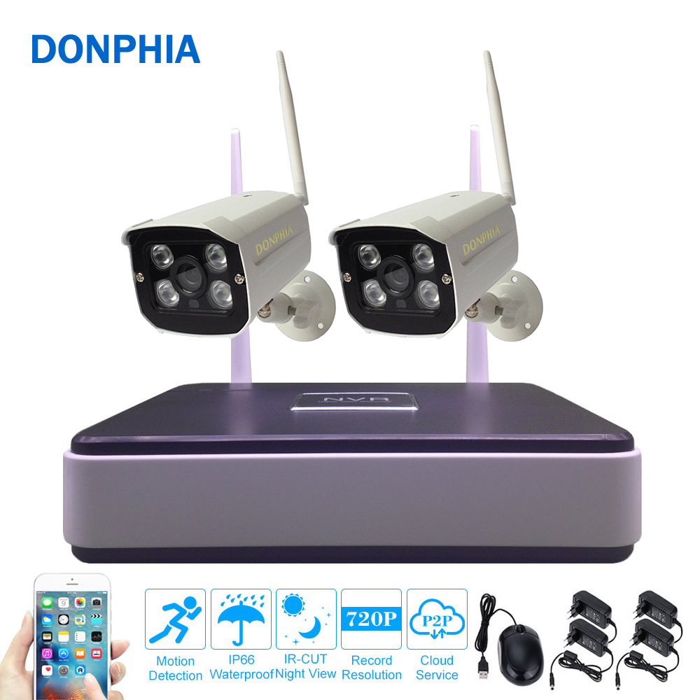Wireless Security System 720P Surveillance IP Camera Kit 2PCS Wifi NVR Set Outdoor Cloud P2P 1.0MP Night Vision