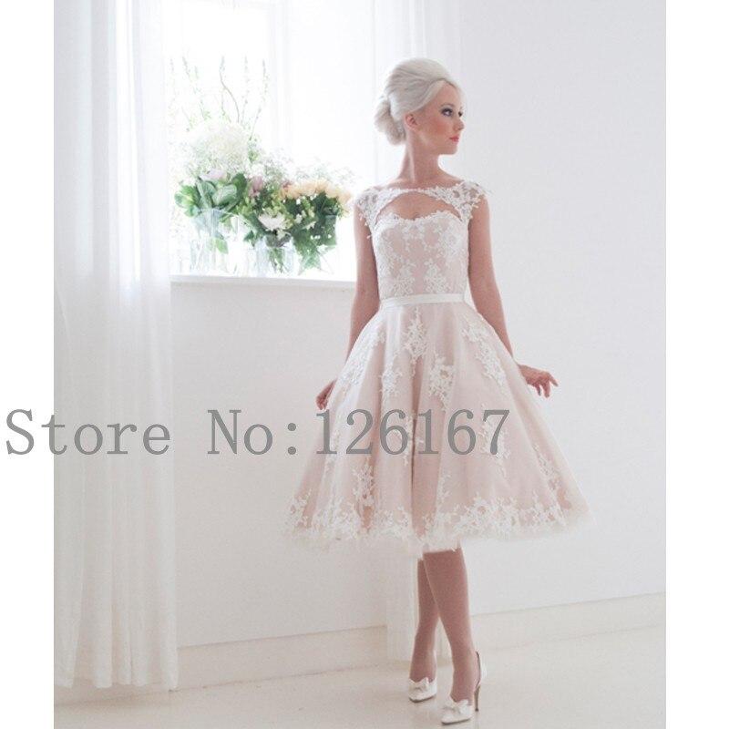 desnuda de color rosa vestido de novia de la rodilla longitud