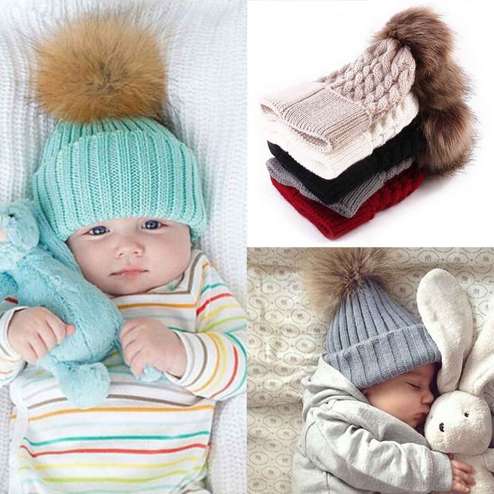 48f82b4410373 Natural Fur Hat For Kids Children Baby Boys Girls Winter Ball Knit Faux  Raccoon Fur Pom