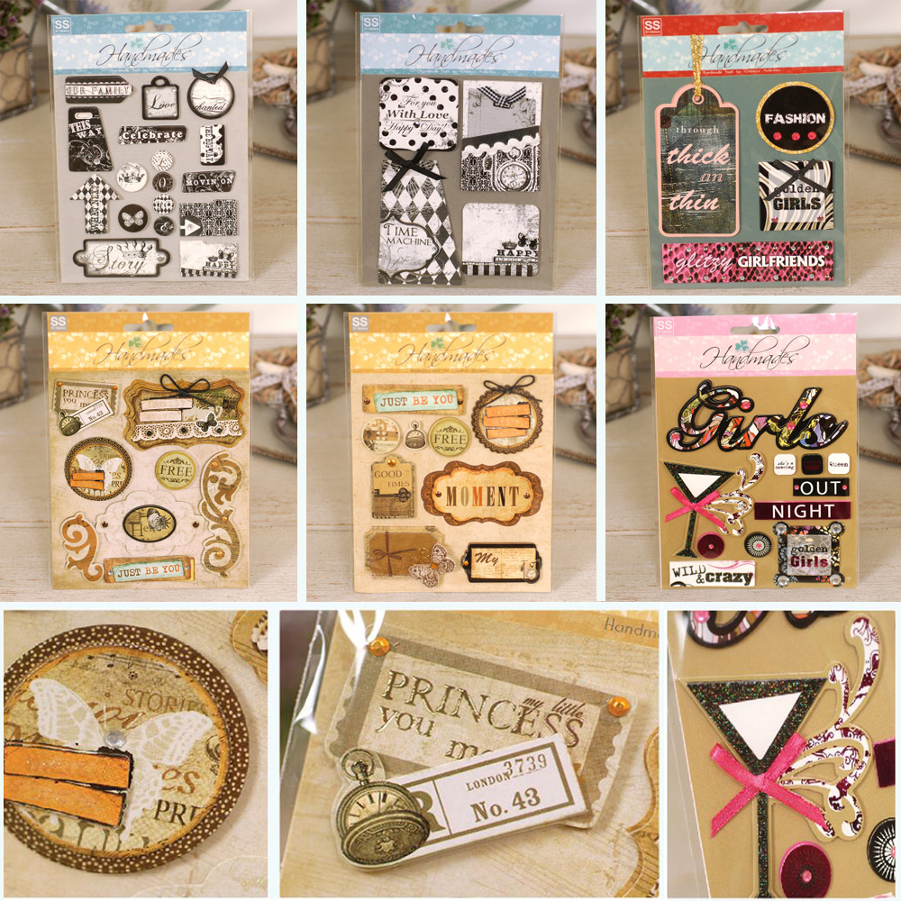 Scrapbook paper and stickers - Vintage Paper Layered Stickers Embellishment Accessories Creative Handmade 3d Scrapbooking Stickers China Mainland