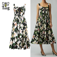 Tingfly New Designer Lily Flower Print Midi Dress Sweetheart Neckline Lace Up Strap Long Dress Casual Women Summer Dress Vestido