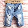 2017 hombres de la moda Denim agujero Pantalones cortos de la pierna recta sliming estilo coreano verano ocio Vaqueros