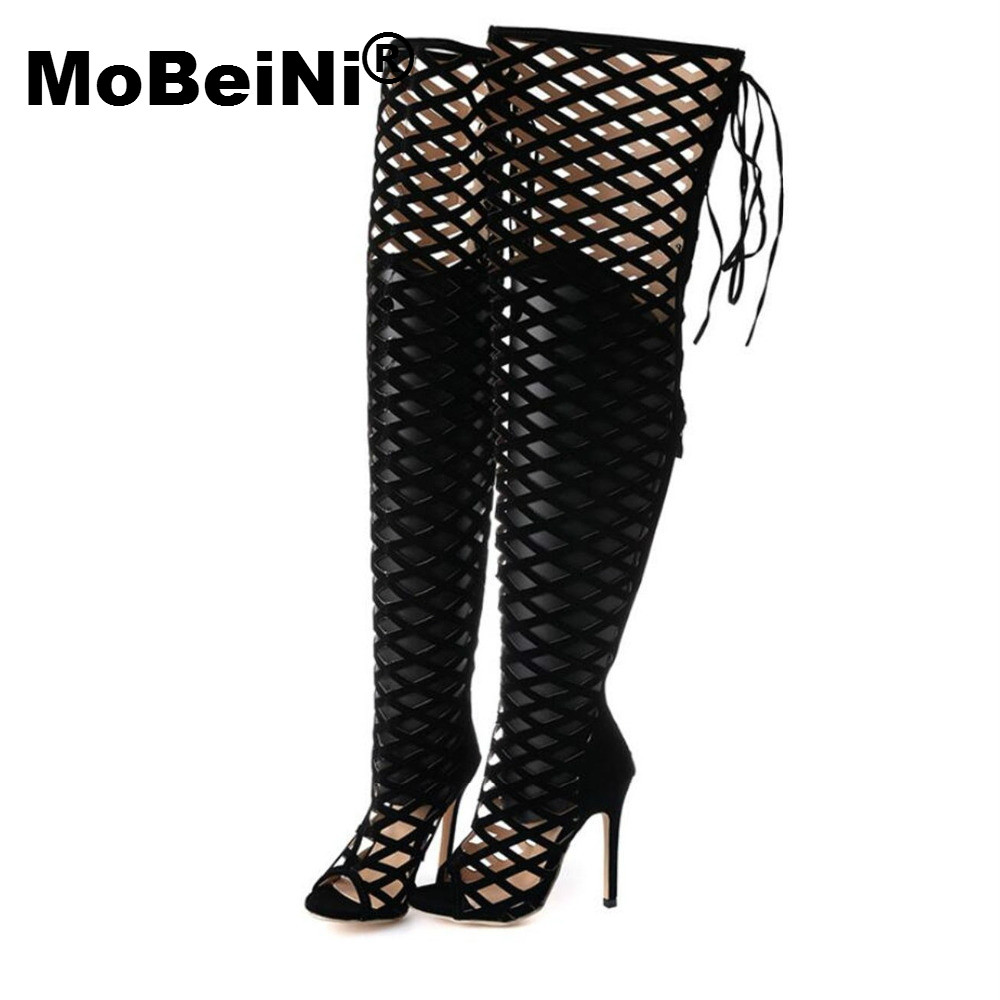 MoBeiNi Vogue Gladiator Black Sandals Knee High Cool Boots Women Cut-outs 11cm High Heel Sandals Sexy Woman Shoes Evening Party anmairon new cut outs knee high gladiator summer sandals boots women motorcycle boots high knee high boots shoes woman 7 colors