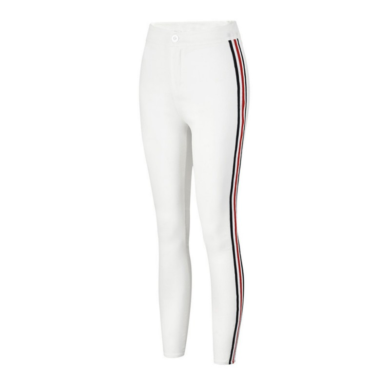 New Side Striped Zippers Trousers For Women Sexy Skinny Pants High Waist Workwear Woman Casual Summer Pencil Pants White Black