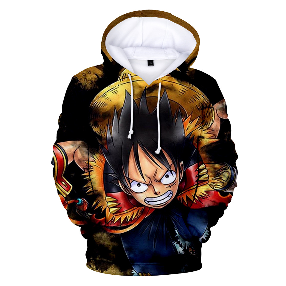 Fashion 3d Hoodie Sweatshirt Anime One Piece Monkey D Luffy Hooded Hoodies Pullovers Tops Oversized Streetwear 4xl Drop Shipping Men's Clothing