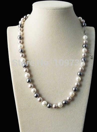 """Jewelr 003973 Thời Trang 8 mét Bạc Thật Đen Trắng Biển Shell Trân Necklace 18 """"AAA +"""