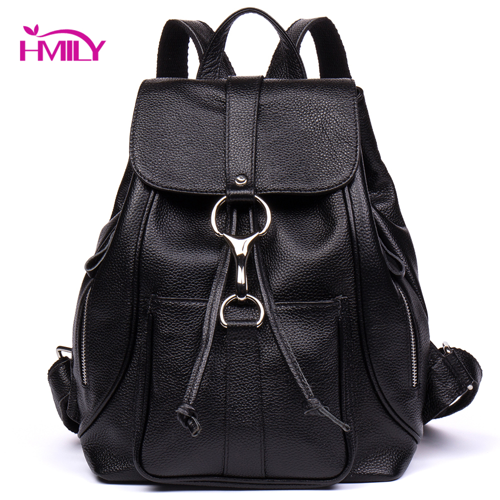 HMILY Backpack Female Genuine Leather Women Bag High Quality Cow Skin Ladies Travel Bag Cover Soft Shoulder Bag Fashion Classic cow genuine leather backpack female leisure style school bag ladies high quality leather daily bag women soft travel bag n140