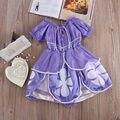 Europa E Estados unidos Sofia Princesa Traje Meninas Do Bebê Vestido de Festa de Aniversário do Dia Das Bruxas Crianças Fancy Dress 2-7 T