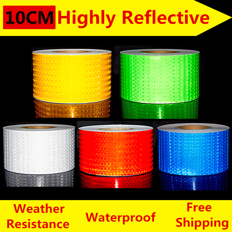 Free Shipping 10cm*50m Reflective Strips car-styling Safety Mark Auto Decoration Self Adhesive Warning Tape Car Body Stickers