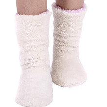 Recommended Female Warm Winter Home Shoes Coral Fleece Indoor Floor Socks ,Warm Soft Floor Slippers Floor Shoes Pink /Gray/ivory