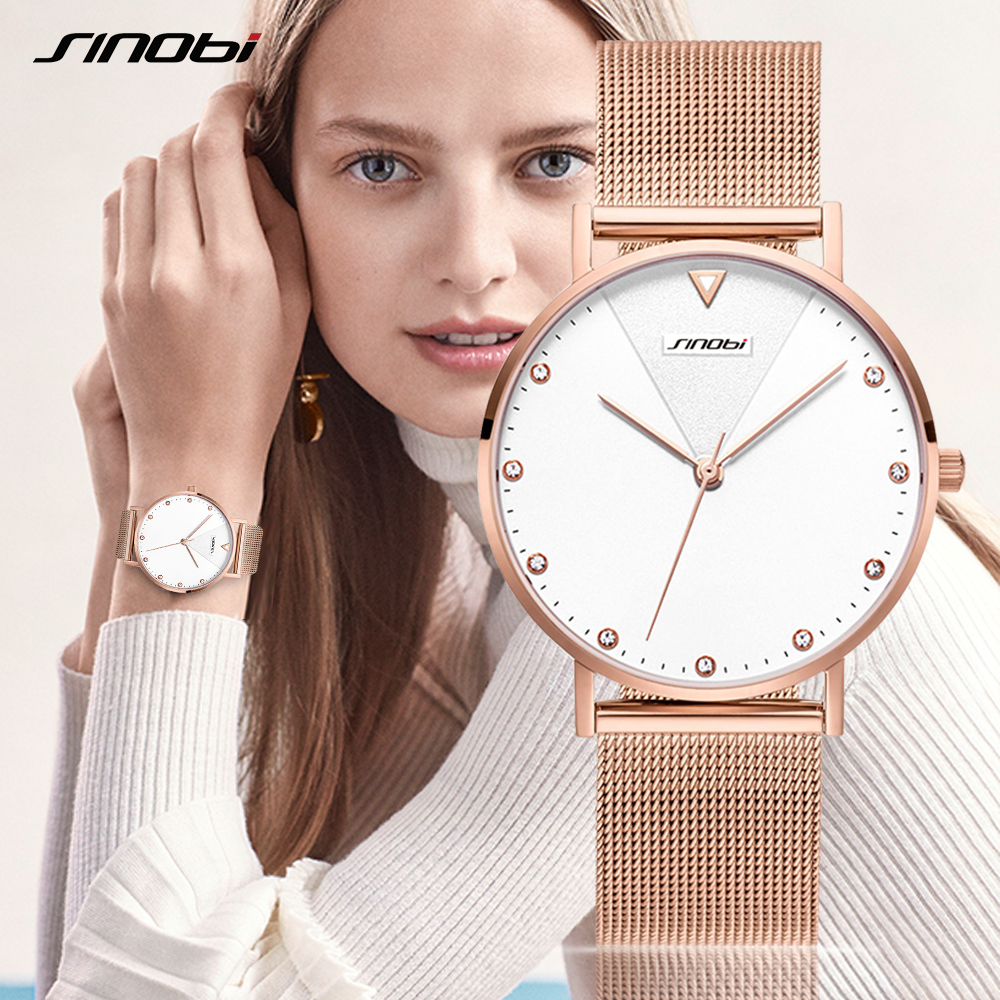 Image 5 - SINOBI Fashion Golden Women's Diamonds Wrist Watches Top Luxury Brand Ladies Geneva Quartz Clock Female Bracelet Wristwatch 2017-in Women's Watches from Watches