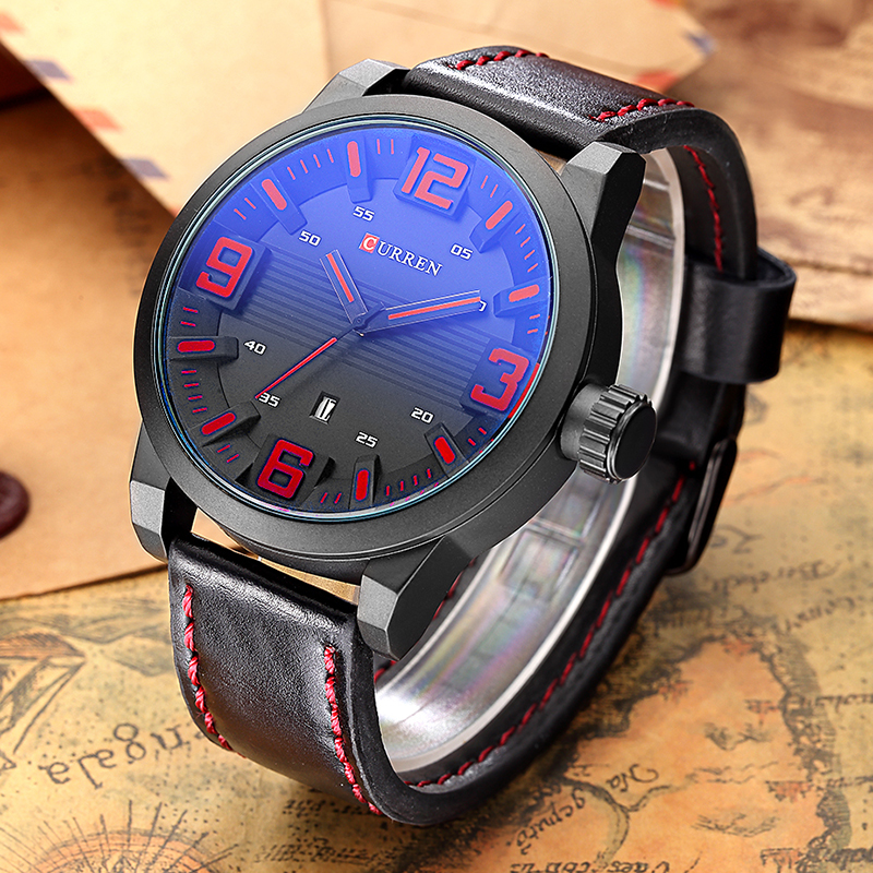 Curren 2018 Men Watches Clock Men Luxury Brand Casual Black Red Watch Leather Analog Quartz Men Wristwatch Relojes Hombre 8241 xinkai 0015 children s casual silicone band quartz analog wristwatch black red 1 x 377