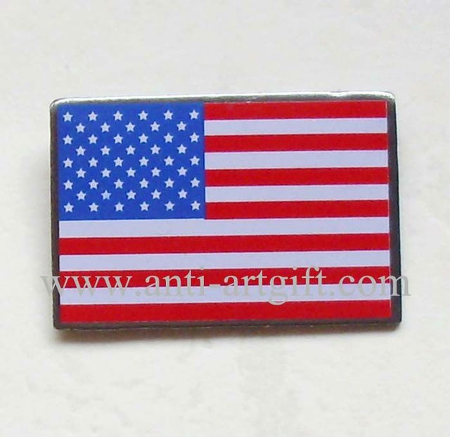 Usa Flag Metal Pins Square Shape 1 Silver Plated Offest Print In