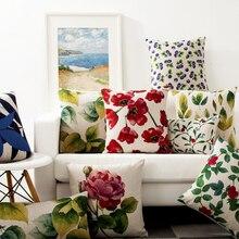 Funda de almohada de flores acuarela Rural americana funda de almohada de lino Floral Vintage rojo verde azul funda de almohada decorativa para el hogar