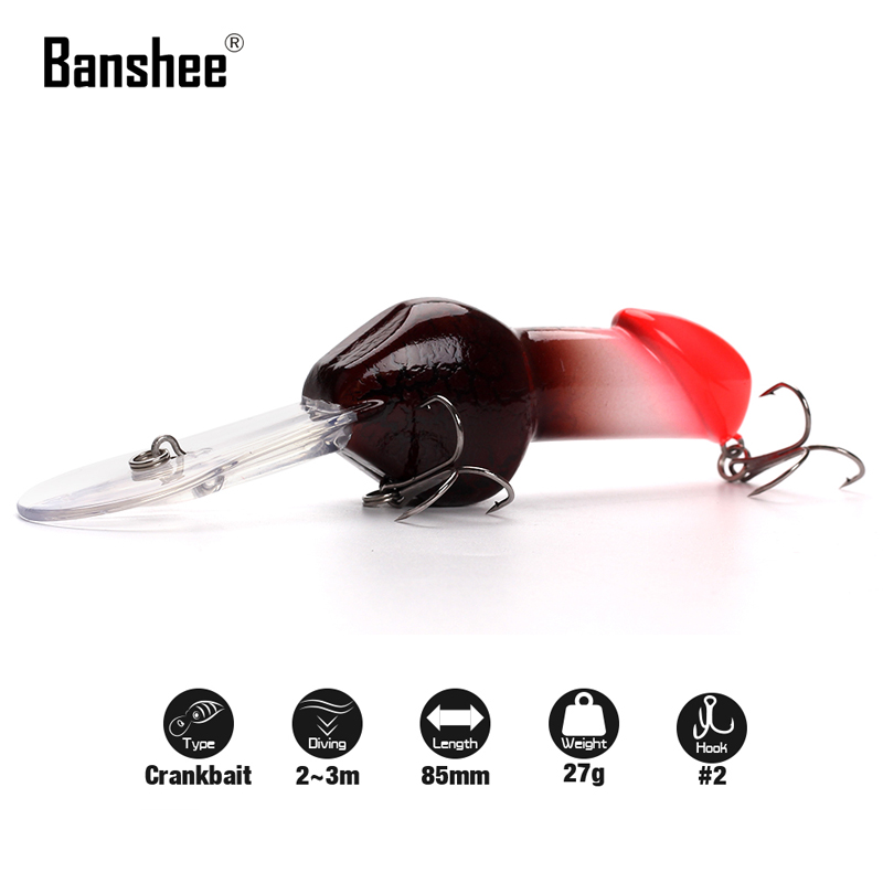 Banshee 85mm 27g JJ01 #2 Hook Valentine's gift Big Deep Diving Dick Rattle Minnow Crankbait Fishing Lure Hard Artificial Bait wldslure 1pc 54g minnow sea fishing crankbait bass hard bait tuna lures wobbler trolling lure treble hook