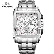 MEGIR chaude mode hommes d'affaires de quartz montres de luxe en acier inoxydable montre-bracelet pour homme lumineux trois-yeux montre pour male2018