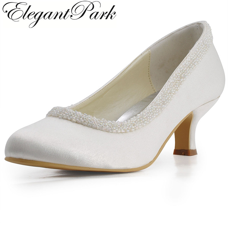 EL-005CC Woman Ivory White Round Toe Beading Mid Low Heel Satin Pumps Ladies Bride Wedding Bridal Prom Dress Shoes navy blue woman bridal wedding sandals med heel peep toe bride bridesmaid lady evening dress shoes white ivory pink red hp1623