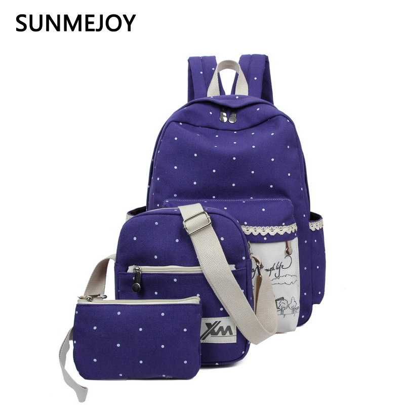 SUNMEJOY Windmill three - piece set of Korean casual students bag tide women new school wind canvas shoulder bag small backpack perception of secondary school students towards inclusive education