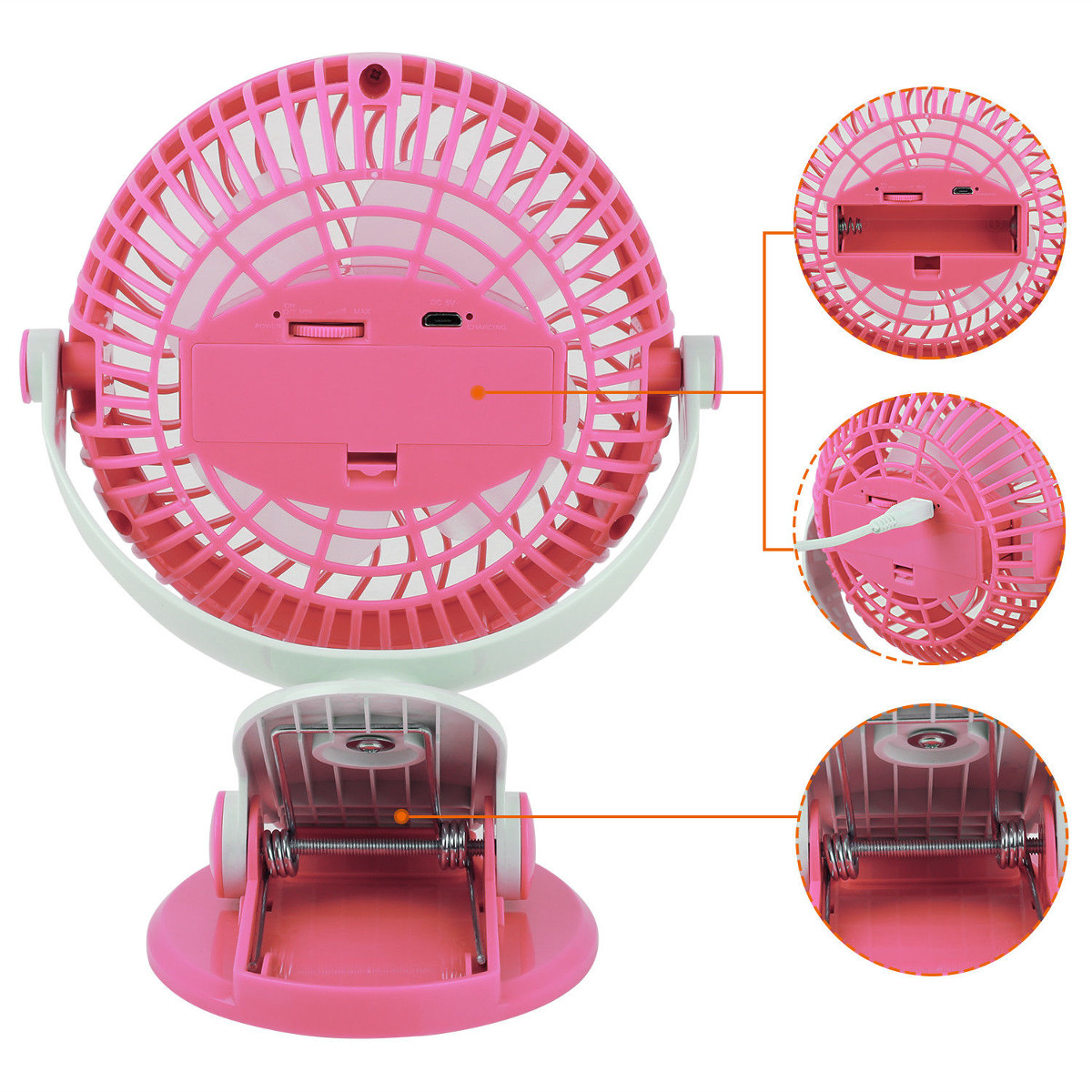 US $11 55 46% OFF|Adjustable Summer Mini Oscillating Fan Airflow 360  Degrees Rotatation USB Charging System Clip On Table for Baby  Pushchair/Desk-in