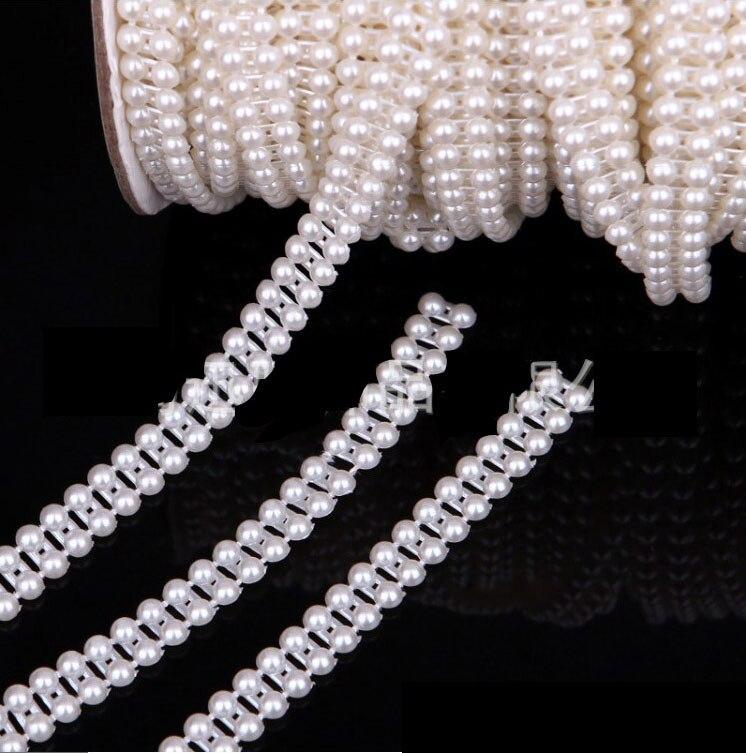 5 м слоновая кость 9 мм 2 строки Flatback Перл Гирлянда Свадебная вечеринка центральным украшением vx17