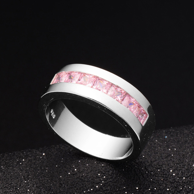 H:HYDE 1pc Classic Luxury Wedding Rings For Women anillos mujer CZ pink Red Cubic Zirconia Stone jewelry ring size 7 8 9