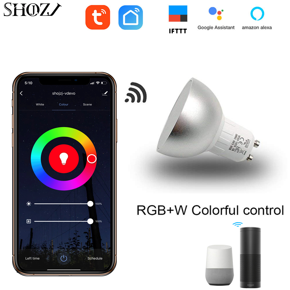 Ampoule WIFI intelligente télécommande LED ampoules intelligentes LED réglage des couleurs connexion pour Amazon Alexa Google home GU10/GU5.3/E27