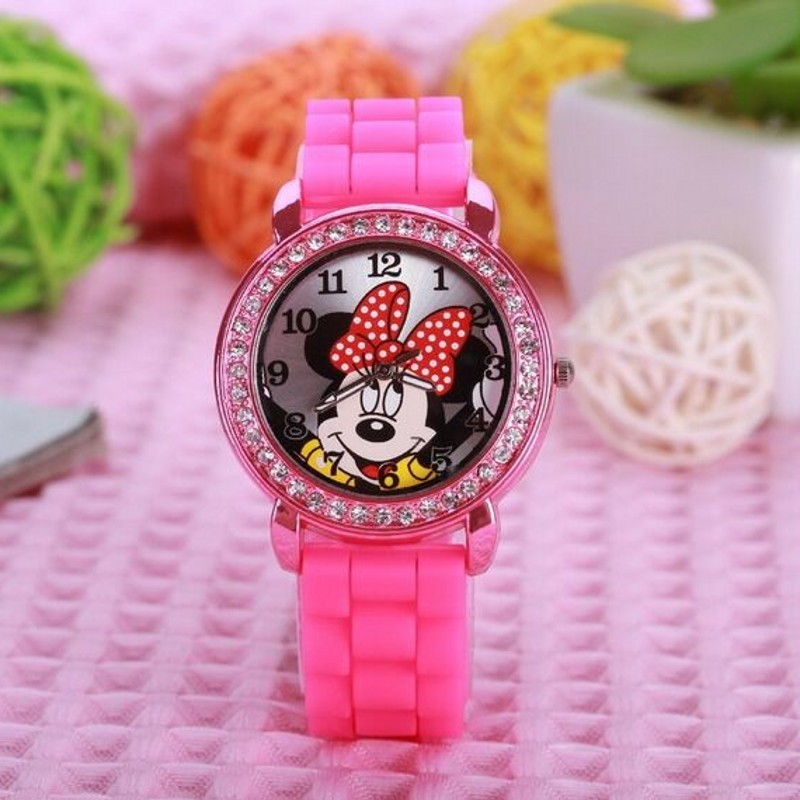 New Brand Cartoon Desgin Kids Watch Silicone Diamond Wristwatch Crystal Lady Jelly Watches Horlog Relogio Feminino Montres Clock